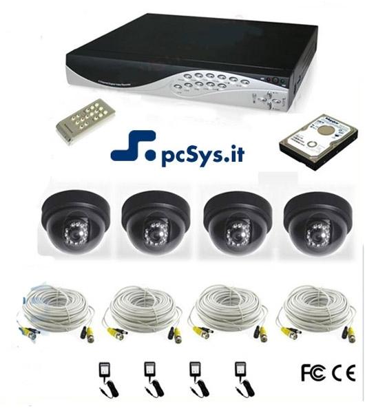 Impianto di videosorveglianza 4ch completo con LAN, USB con Telecamere Dome