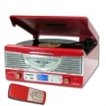 GIRADISCHI + RADIO + SD/USB ENCODER NILOX SPEAKER INTEGRATIᄌ ROSSO